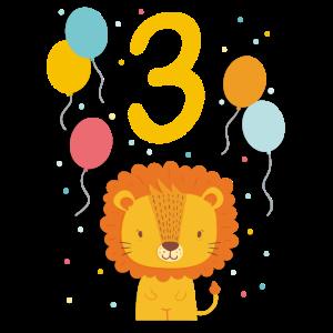 3. Geburtstag Geburtstagsshirt Löwe Dritter Geb