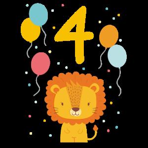 4. Geburtstag Geburtstagsshirt Löwe Vierter Geb