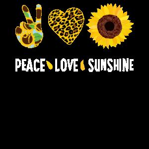 Peace Love Sunflower Sunshine Funny Leopard Heart