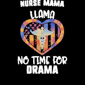 Krankenschwester Mama Lama keine Zeit für Drama Krankenschwester USA Flagge