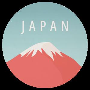 Schneebedeckter Fuji Vulkan in Japan