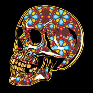 Schädel mit Hippie-Ornamenthaut lachend - lustiges