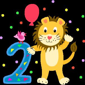 Zweiter Geburtstag 2. Jahre Löwe süß Geschenk