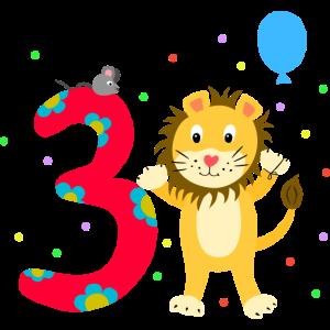 Dritter Geburtstag 3. Jahre Löwe süß Geschenk