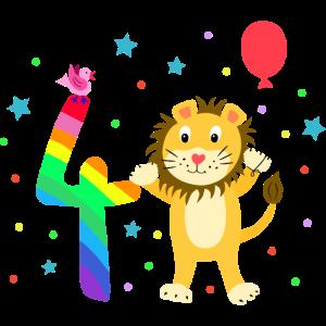 Vierter Geburtstag 4. Jahre Löwe süß Geschenk