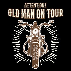 Alter Mann auf Tour Motorrad Geschenk