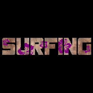 Surfing Holz Surfbrett Welle Hibiskus Sommer Beach