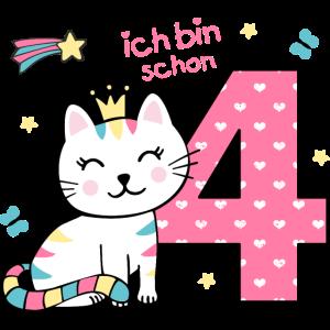 4. Geburtstag - niedliche Katze.