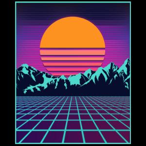Retro 80er Jahre Aesthetic Vaporwave Outrun Style