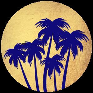 Kreis Gold Palmen Luxus Sonnenuntergang Sommer