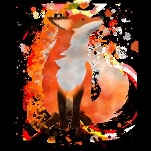Fuchs Aquarell Wasserfarben Tier mit Farbklecksen