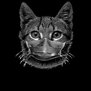 Niedliche Katze Kätzchen mit Mundschutz Maske