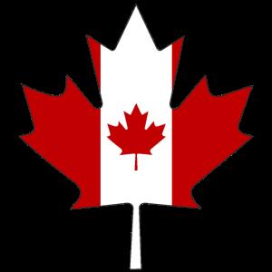 Kanada Flagge als Ahornblatt mit schwarze Rahmen