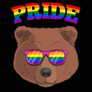 Homosexuell Stolz Grizzlybär mit LGBT Regenbogen