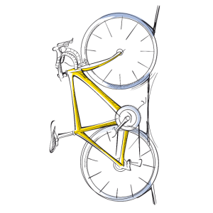 Gelbes Rennrad Design Skizze