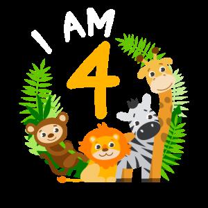 4. Geburtstag Geburtstagsshirt Dschungel Vierter