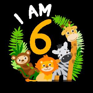 6. Geburtstag Geburtstagsshirt Dschungel 6 Jahre
