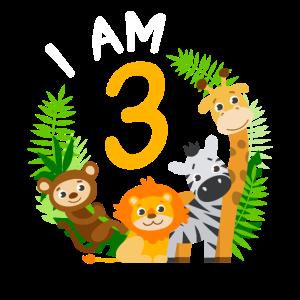 3. Geburtstag Geburtstagsshirt Dschungel Dritter