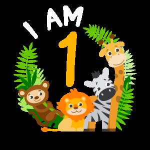 1. Geburtstag Geburtstagsshirt Dschungel Erster