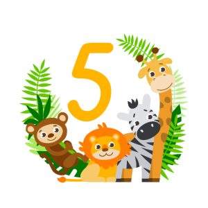 5. Geburtstag Geburtstagsshirt Dschungel Fünfter