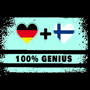 Deutschland und Finnland 100% Genial / Geschenk