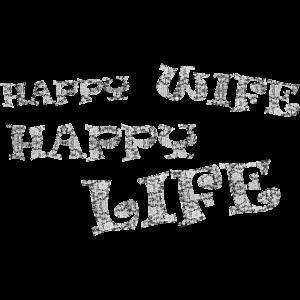 HAPPY WIFE HAPPY LIFE, Schrift als Spitzenmuster