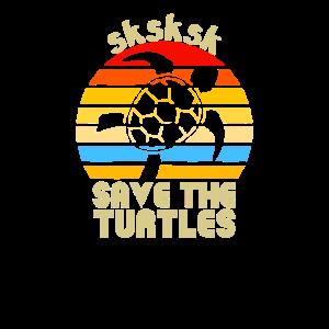 SKSKSK Rette die Schildkröten Funny Saying Retro Vintage