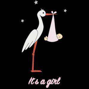 Storch mit Mädchen