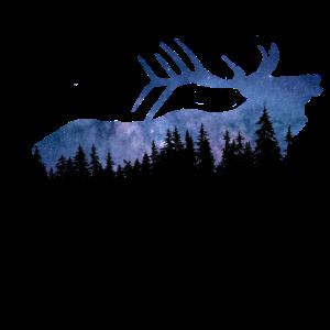 Elch Natur Wald Sterne Himmel geschenkidee Tier