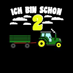 Kinder 2. Geburstag Traktor mit Hänger
