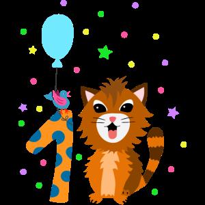 Erster Geburtstag 1. Jahr Katze süß Geschenk