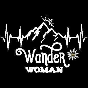 Wander Woman Berge Bergsteigen Wandern Spruch Ekg