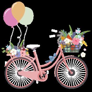 Fahrrad Blumen Luftballon Pink Rad