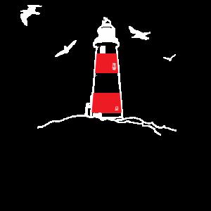 Leuchtturm Möwen Ostsee Nordsee Handzeichnung NEU