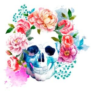 Calavera con flores