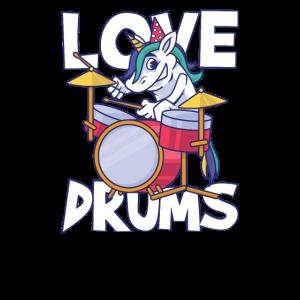 Drumming Unicorn Einhorn Schlagzeug