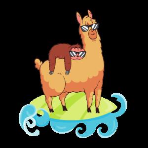 Faultier Hipster Lama Surfen Chill Sonnenbrille