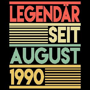 30. Geburtstag August 1990 Geschenk Geschenkidee