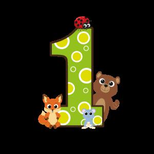 Ich bin 1 ich bin Eins Geburtstag süße Tiere Zahl