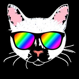 Coole Katze mit Regenbogen Sonnenbrille - STYLE