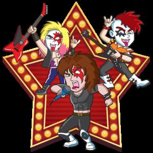 Rock Band 70er Jahre 80er Jahre mit Stern-Hintergrund