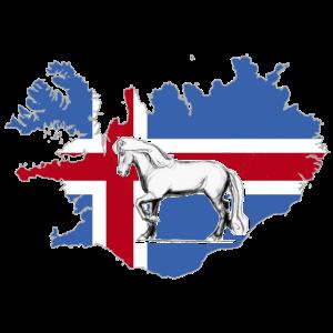 Islandpferd - Isländer auf Island-Umriss