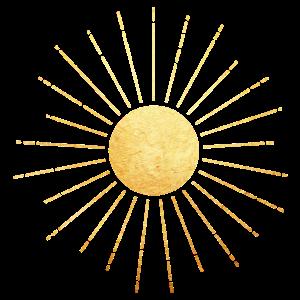 Goldene Sonne mit Sonnenstrahlen, Yoga, Esoterik
