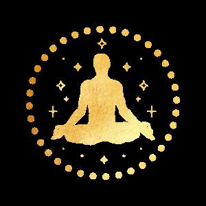 Goldener Yogi mit Sonnenstrahlen, Yoga, Esoterik
