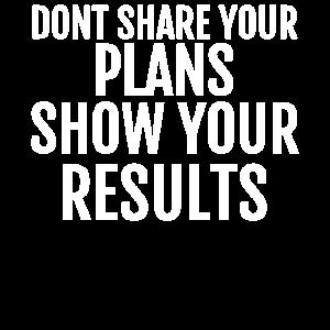 Teilen Sie Ihre Pläne nicht Zeigen Sie Ihre Ergebnisse