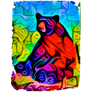 Bär sitzt auf einer Wiese - Bären