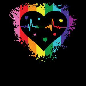 Heart Beat Gay Pride Gender Rainbow