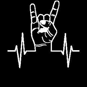 Rock Handzeichen Puls Herzschlag Linie Geschenk