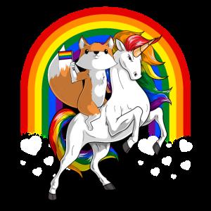 LGBT niedlichen Fuchs reitenden Einhorn Gay Pride Rainbow