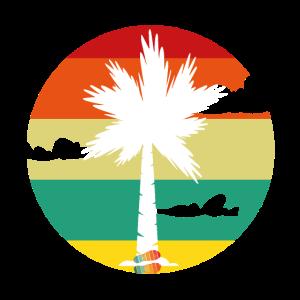 retro sunset mit palme - urlaub & retro shirt